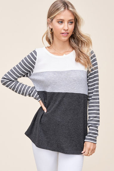 Grey Area Color Block Top