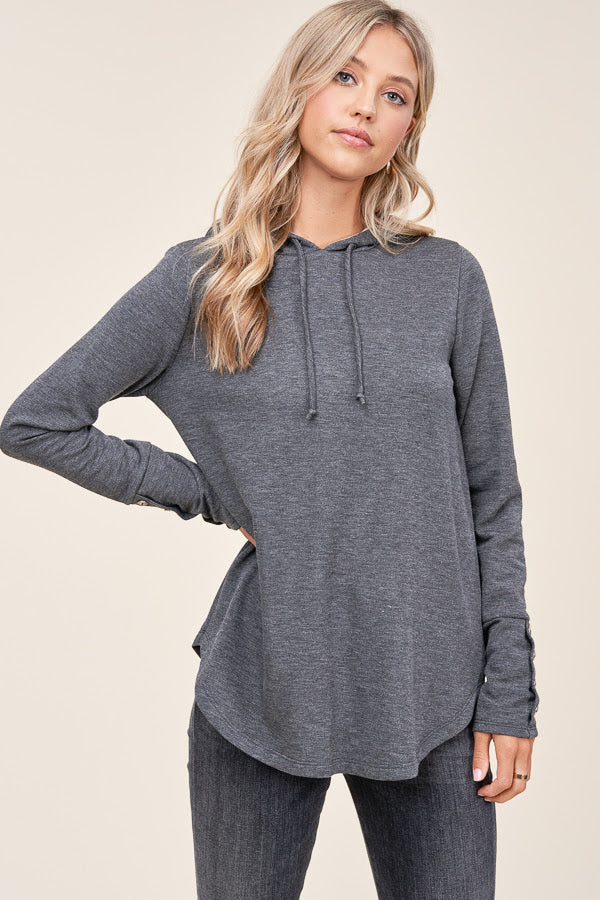 Charcoal Button Sleeve Hoodie
