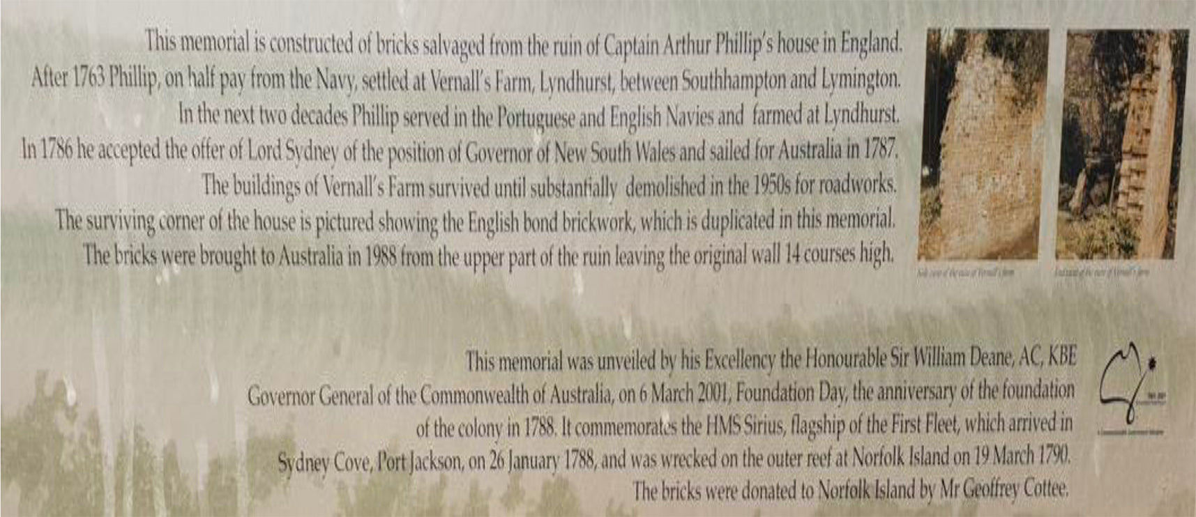Captain Arthur Phillip's House Memorial