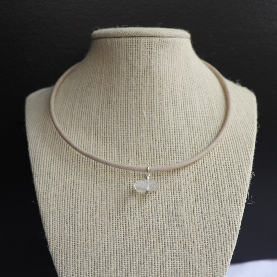 Portuguese cork and clear quartz choker