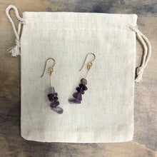Load image into Gallery viewer, Amethyst drop earrings - gold