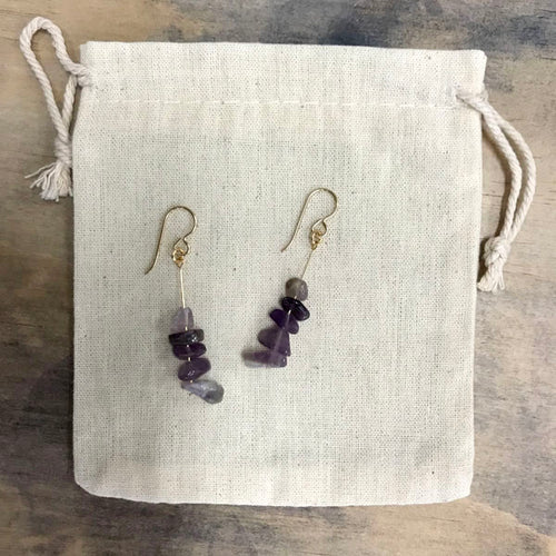 Amethyst drop earrings - gold