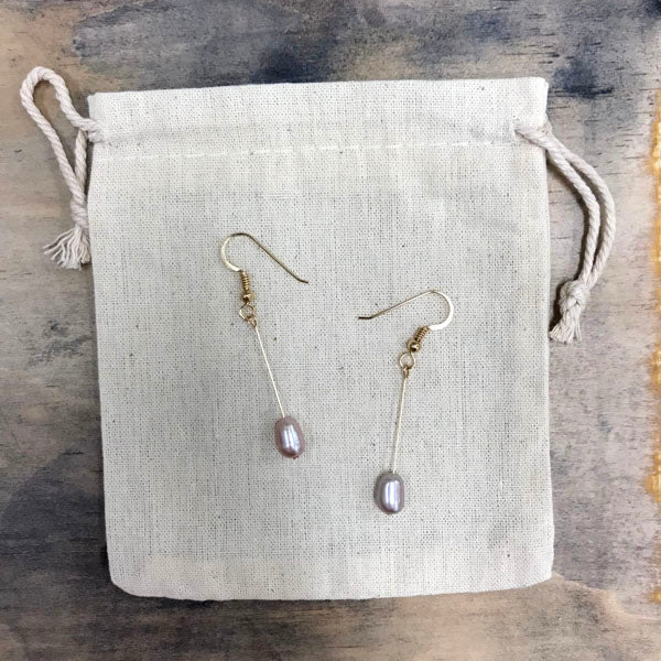 Lavender freshwater pearl drop earrings - gold