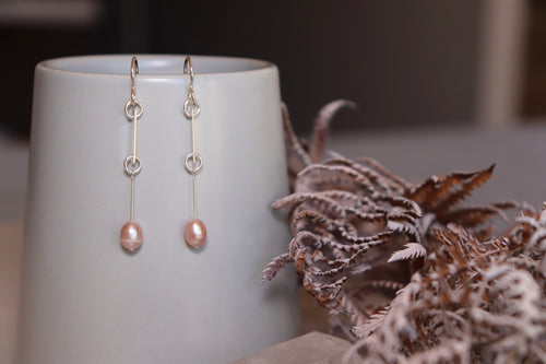 Freshwater pearl and silver spacer drop earrings