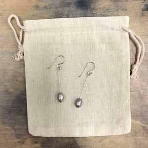 Lavender freshwater pearl drop earrings - silver
