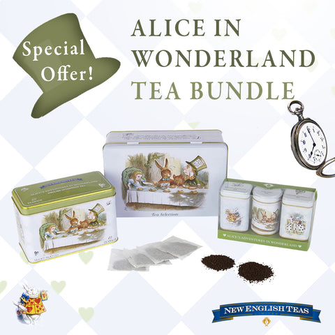 ALice in wonderland bumper tea tin selection gift pack featuring a 40 teabag tin, a 100 teabag tin and 3 mini triple tins. A wonderful gift for collectors.