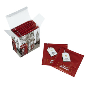 Black And White Red Telephone Box Breakfast Tea 6 Teabag Carton