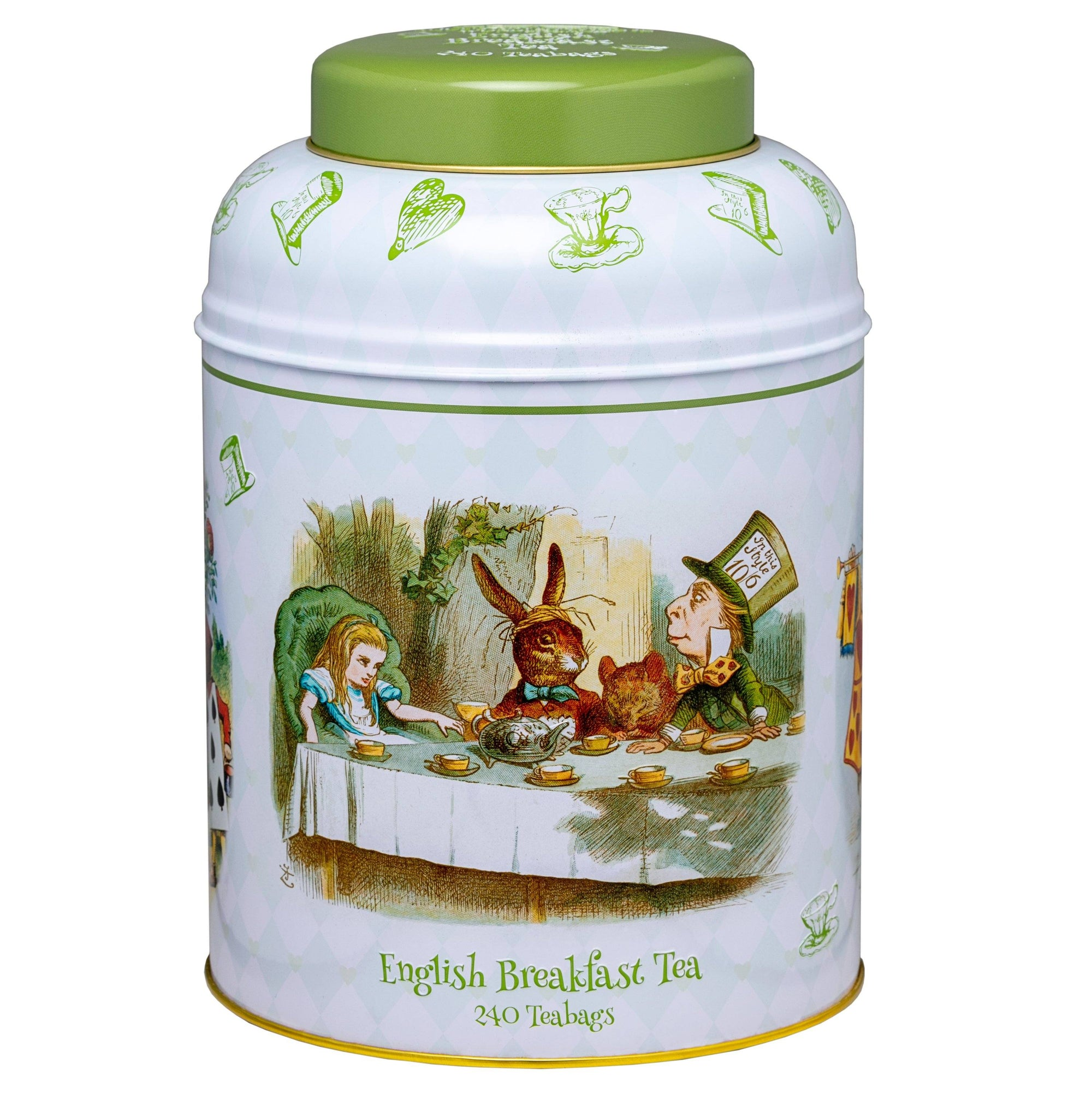 Alice in Wonderland Caddy with 240 English Breakfast Teabags Black Tea New English Teas