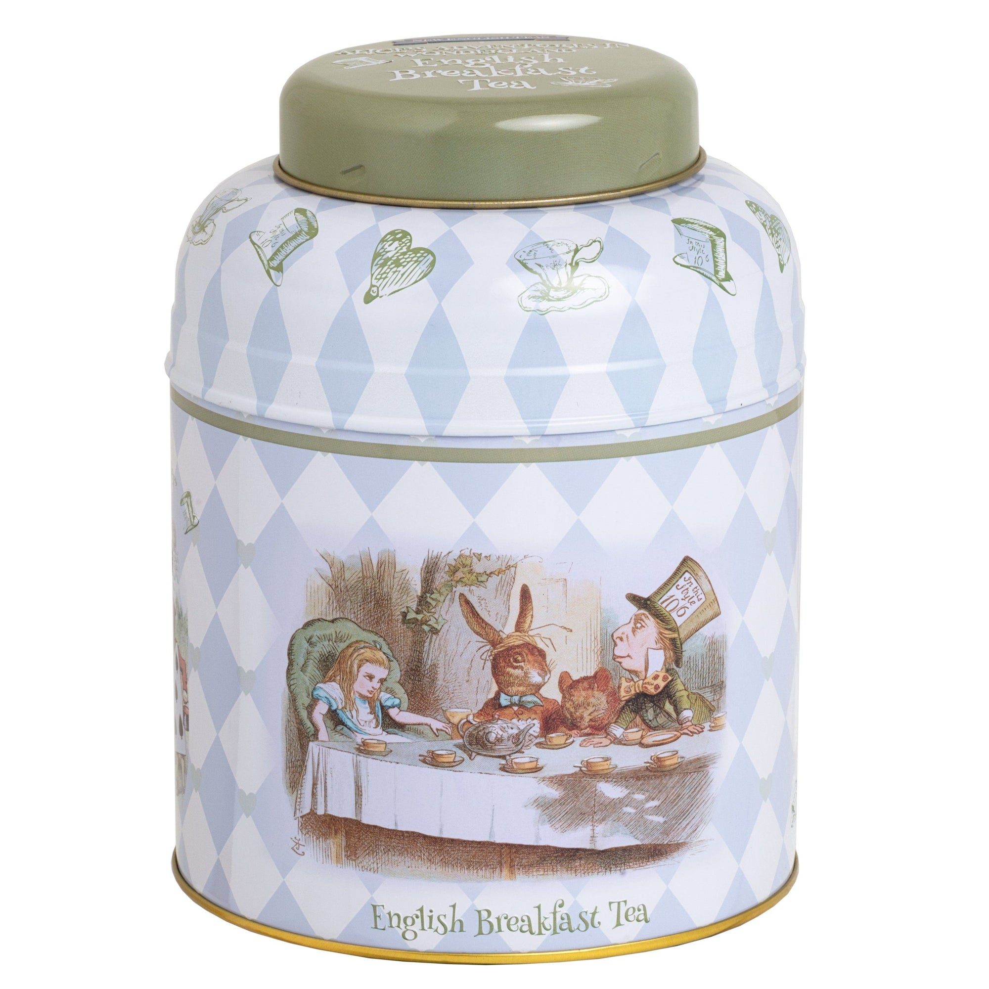 Alice in Wonderland Tea Caddy with 80 English Breakfast Teabags Black Tea New English Teas