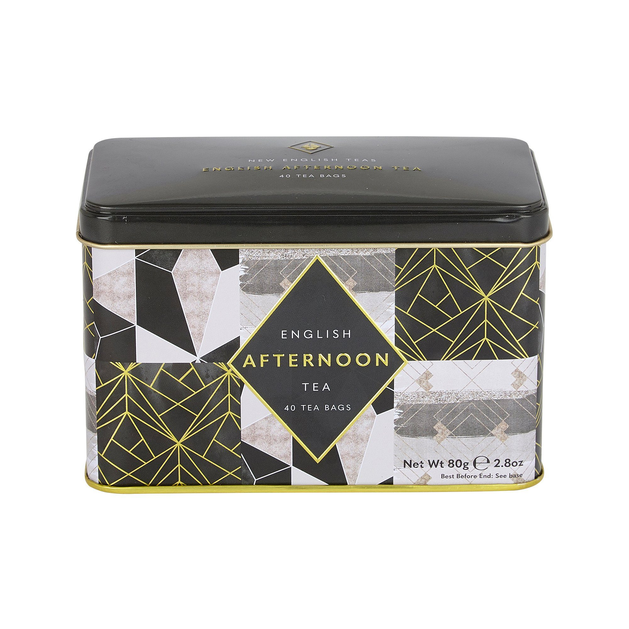 Art Deco Tea Tin with 40 English Afternoon teabags Black Tea New English Teas