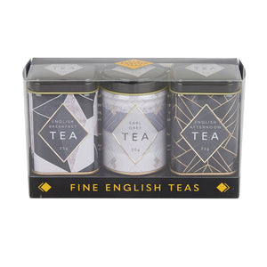 Art Deco Mini Tea Tin Triple Gift Pack Black Tea New English Teas