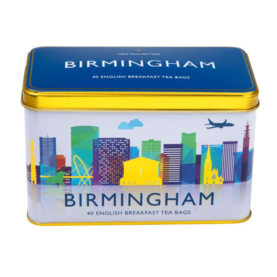 Birmingham Skyline Tea Tin with 40 English Breakfast teabags Black Tea New English Teas