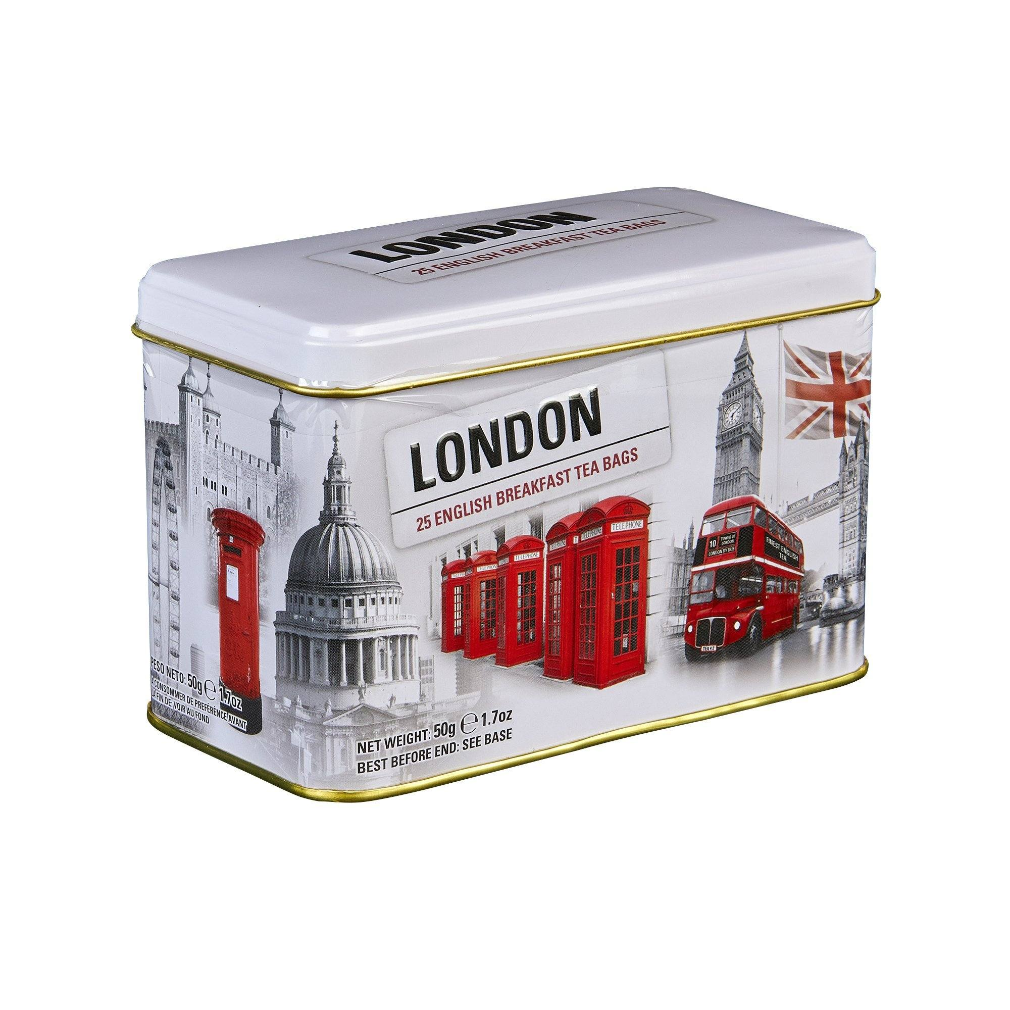 Black and White Iconic London Scenes English Breakfast Tea Tin 25 Teabags Black Tea New English Teas