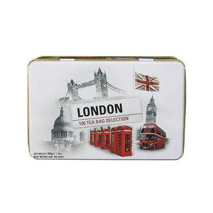Black and White Iconic London Scenes Tea Tin 100 Teabags Black Tea New English Teas