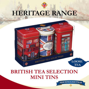 British Icons Triple Tea Selection Mini Tin Gift Pack Black Tea New English Teas