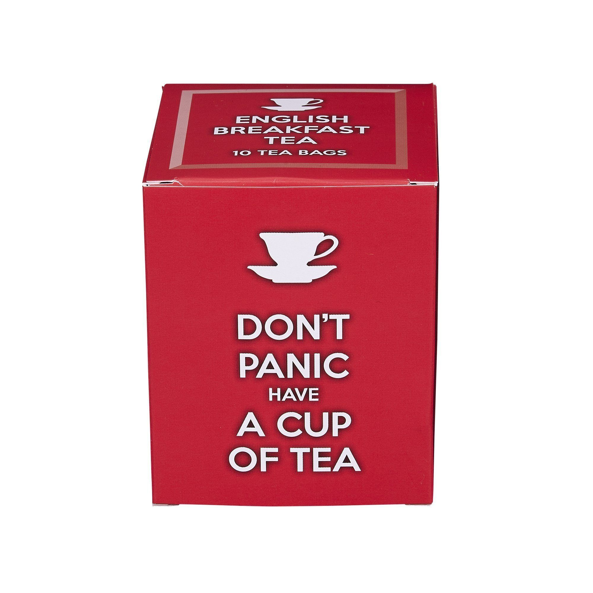 Don't Panic Have A Cup Of Tea, 10 individually wrapped English Breakfast teabags Black Tea New English Teas