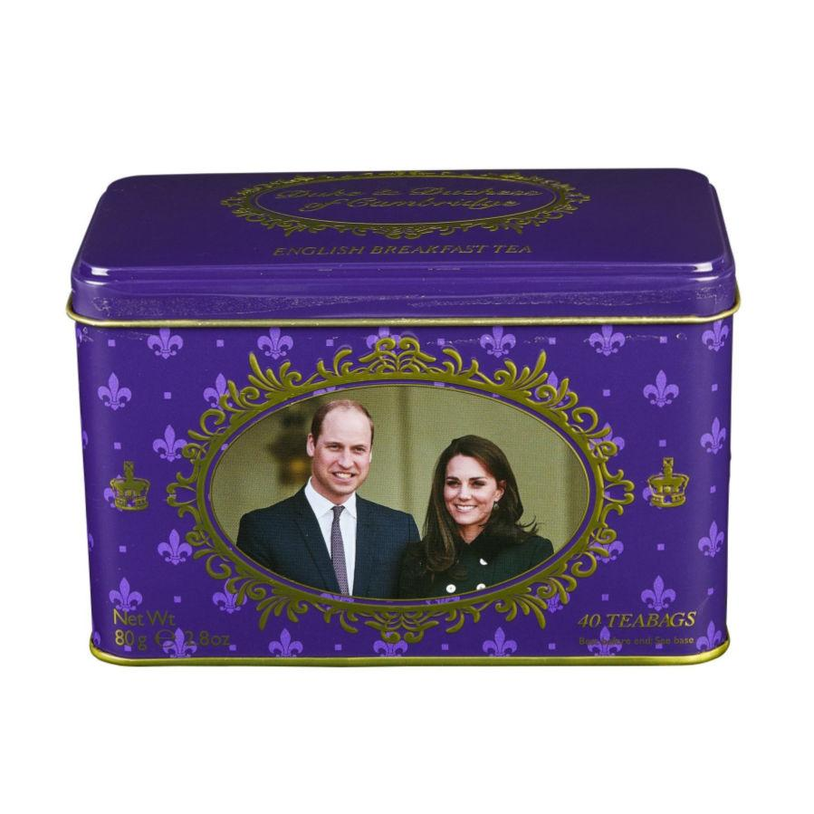 Duke and Duchess of Cambridge Tin with 40 English Breakfast teabags Black Tea New English Teas