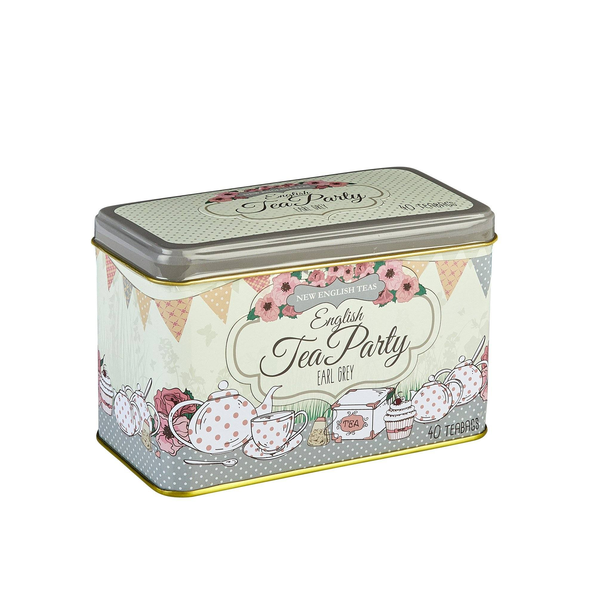 English Tea Party Tea Tin with 40 Earl Grey teabags Black Tea New English Teas