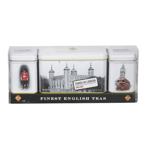 Finest English Teas Triple Tea Selection Mini Tin Gift Pack Black Tea New English Teas