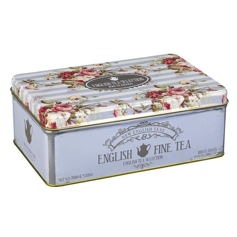 Floral Tea Tin with 100 teabag selection Black Tea New English Teas