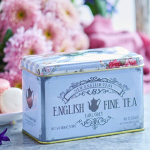 Floral Tea Tin with 40 Earl Grey teabags Black Tea New English Teas