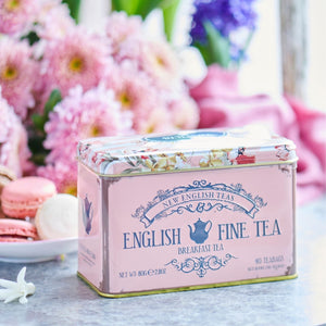 Floral Tea Tin with 40 English Breakfast teabags Black Tea New English Teas