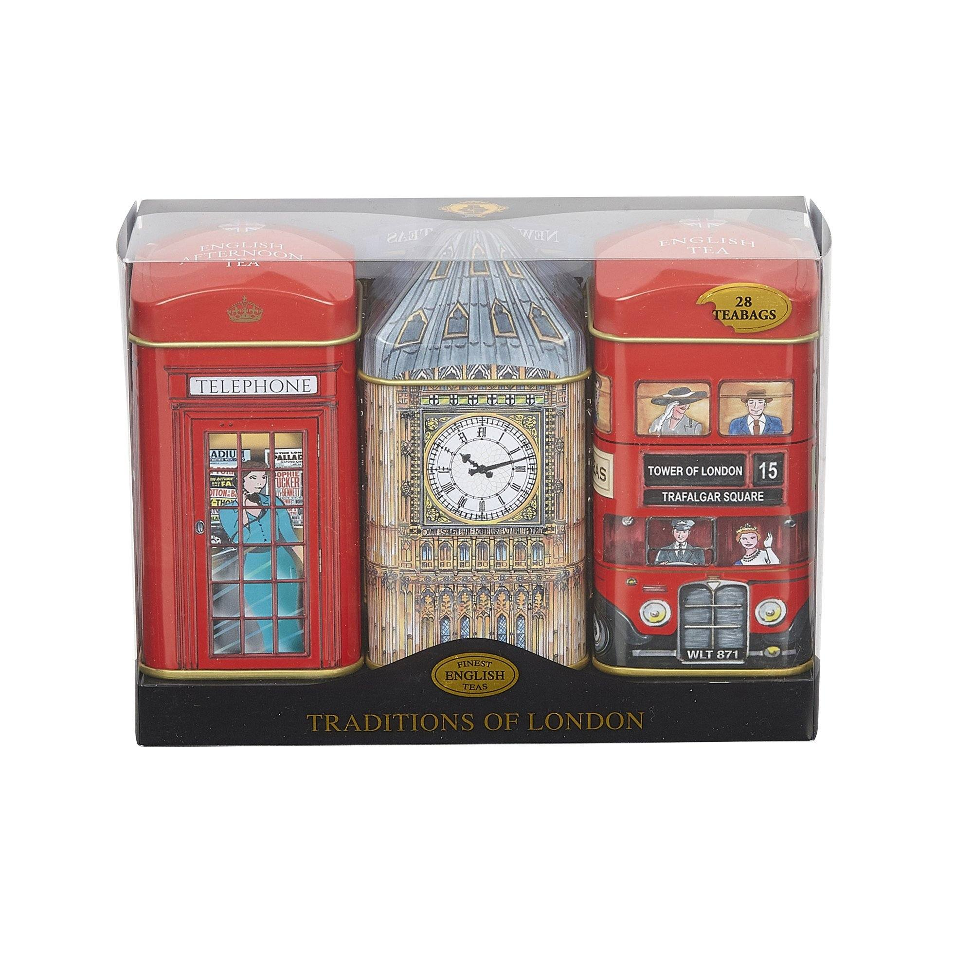 Heritage Tea Selection Triple Tea Tins 28 Teabag Gift Pack Big Ben Black Tea New English Teas