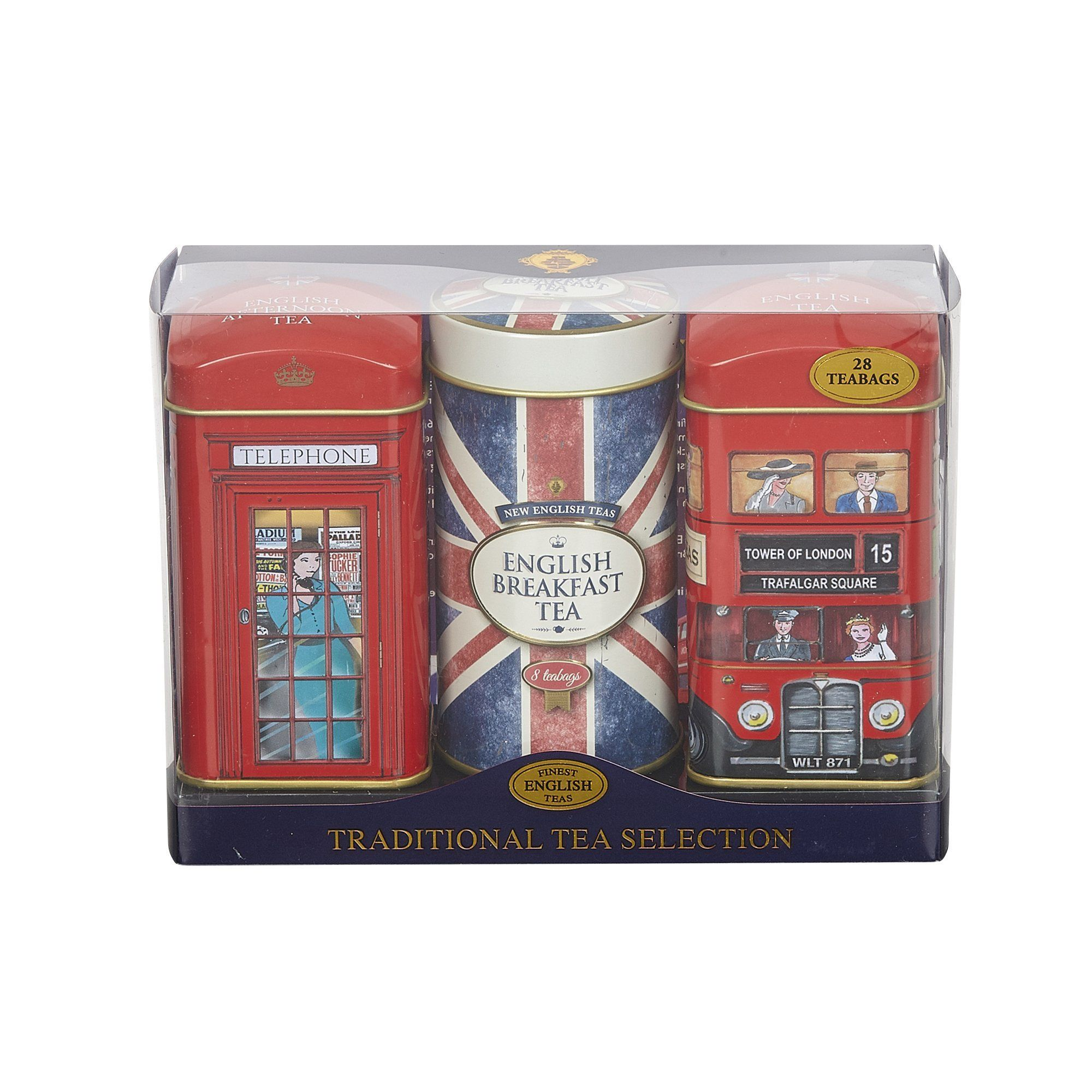 Heritage Tea Selection Triple Tea Tins 28 Teabag Gift Pack Union Jack Black Tea New English Teas