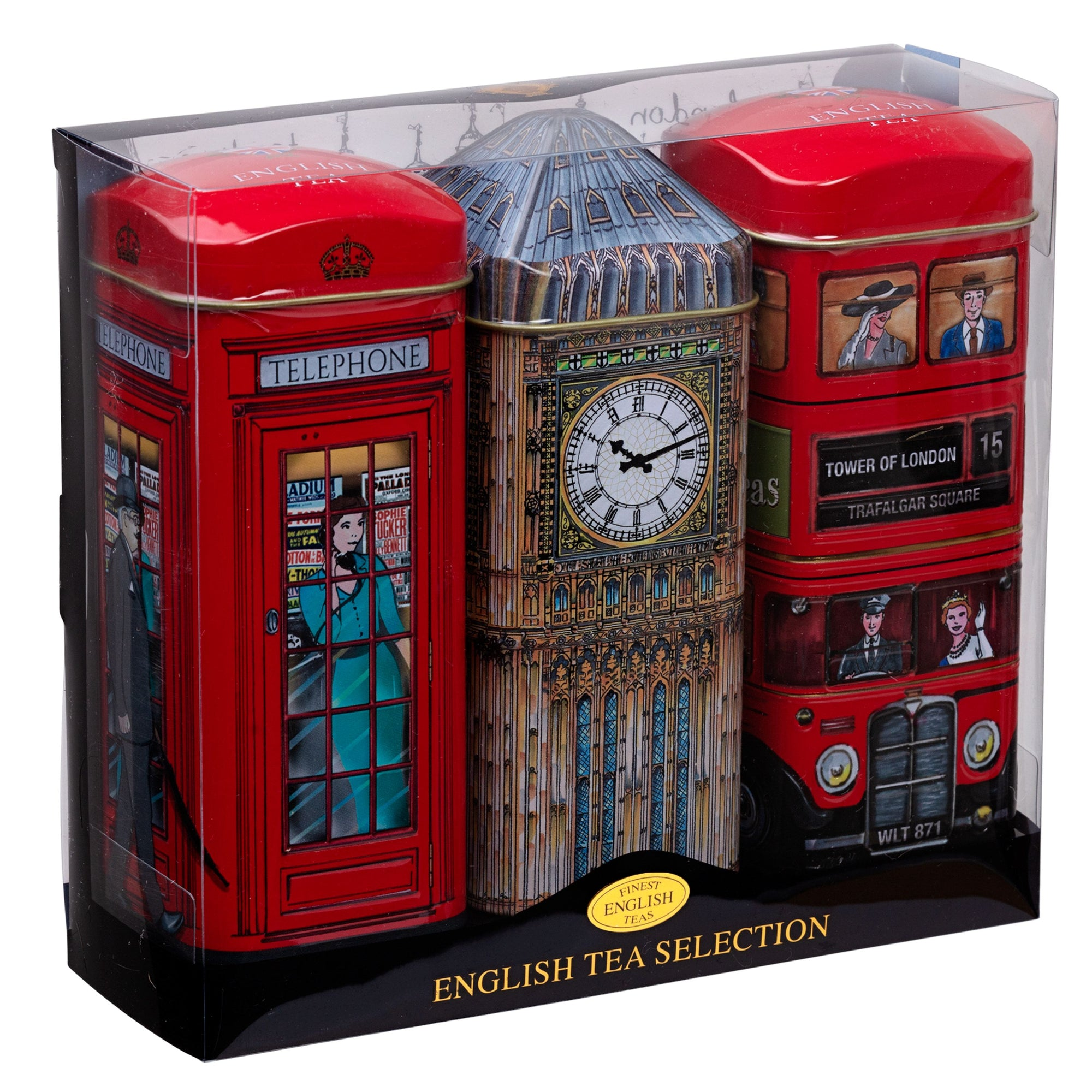 Heritage Tea Selection Triple Tea Tins of 14 Gift Pack Big Ben Black Tea New English Teas