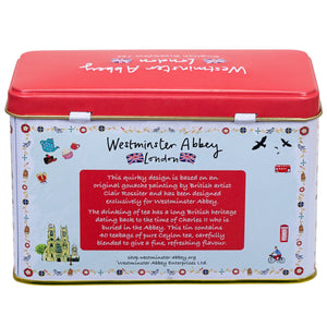 London Map Tea Tin featuring Westminster Abbey with 40 English Breakfast Teabags Black Tea New English Teas