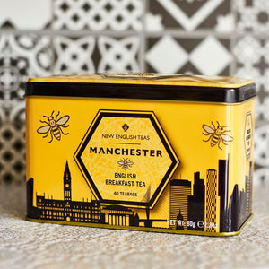 Manchester Tea Tin with 40 English Breakfast teabags Black Tea New English Teas