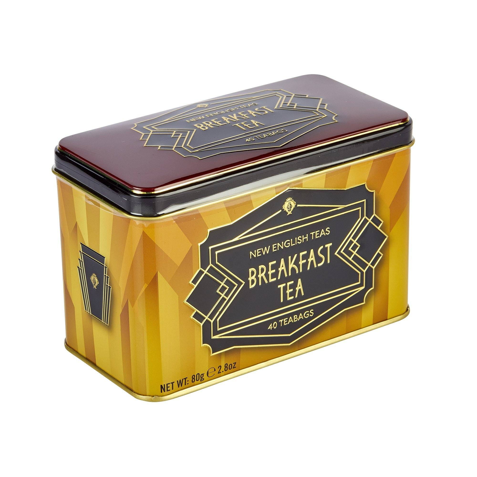 New English Teas Art Deco English Breakfast Tea Tin 40 Teabags Black Tea New English Teas
