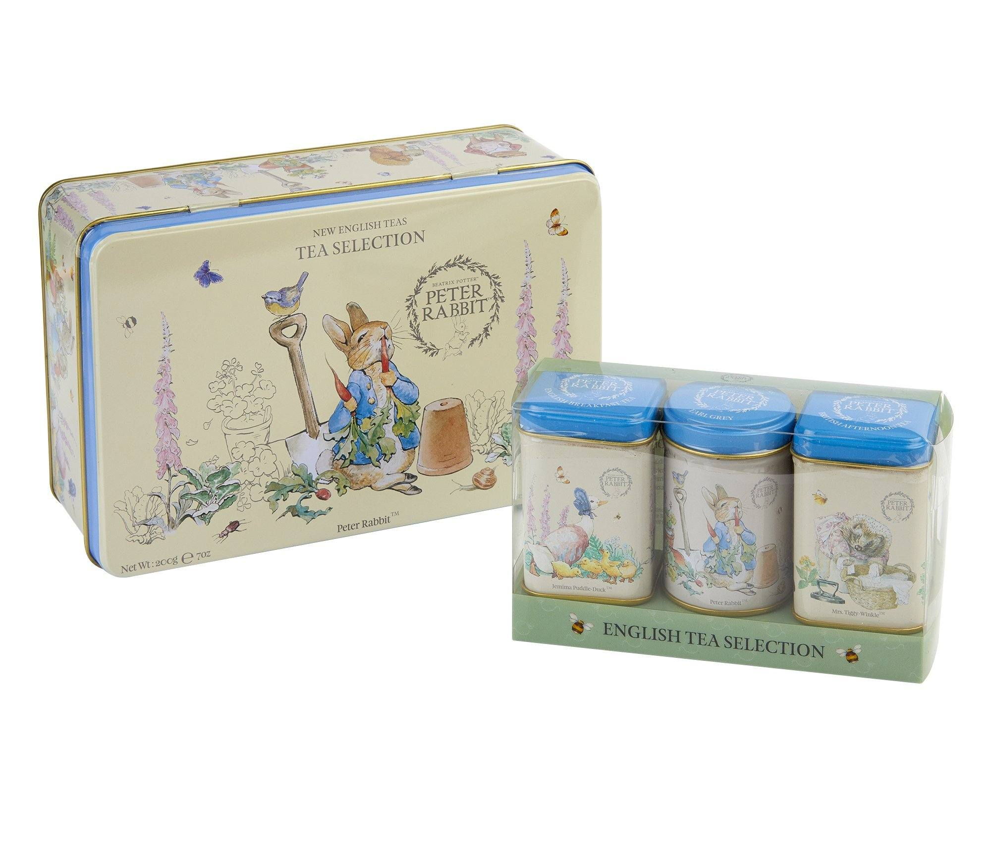 Beatrix Potter Tea Tin Gift Set, teabags and loose-leaf Black Tea New English Teas