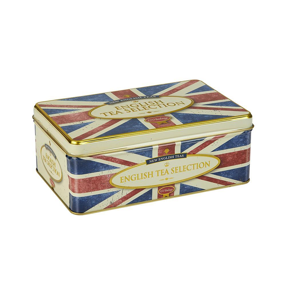 New English Teas Retro Union Jack Fine English Tea Selection Tin 100 Teabags Black Tea New English Teas