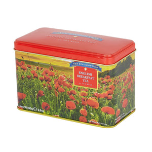 Poppy English Breakfast Tea Tin 40 Teabags Black Tea New English Teas