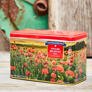 Poppy Tea Tin with 40 English Breakfast teabags Black Tea New English Teas