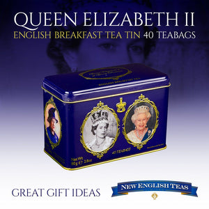 Queen Elizabeth II English Breakfast Tea Tin 40 Teabags Black Tea New English Teas