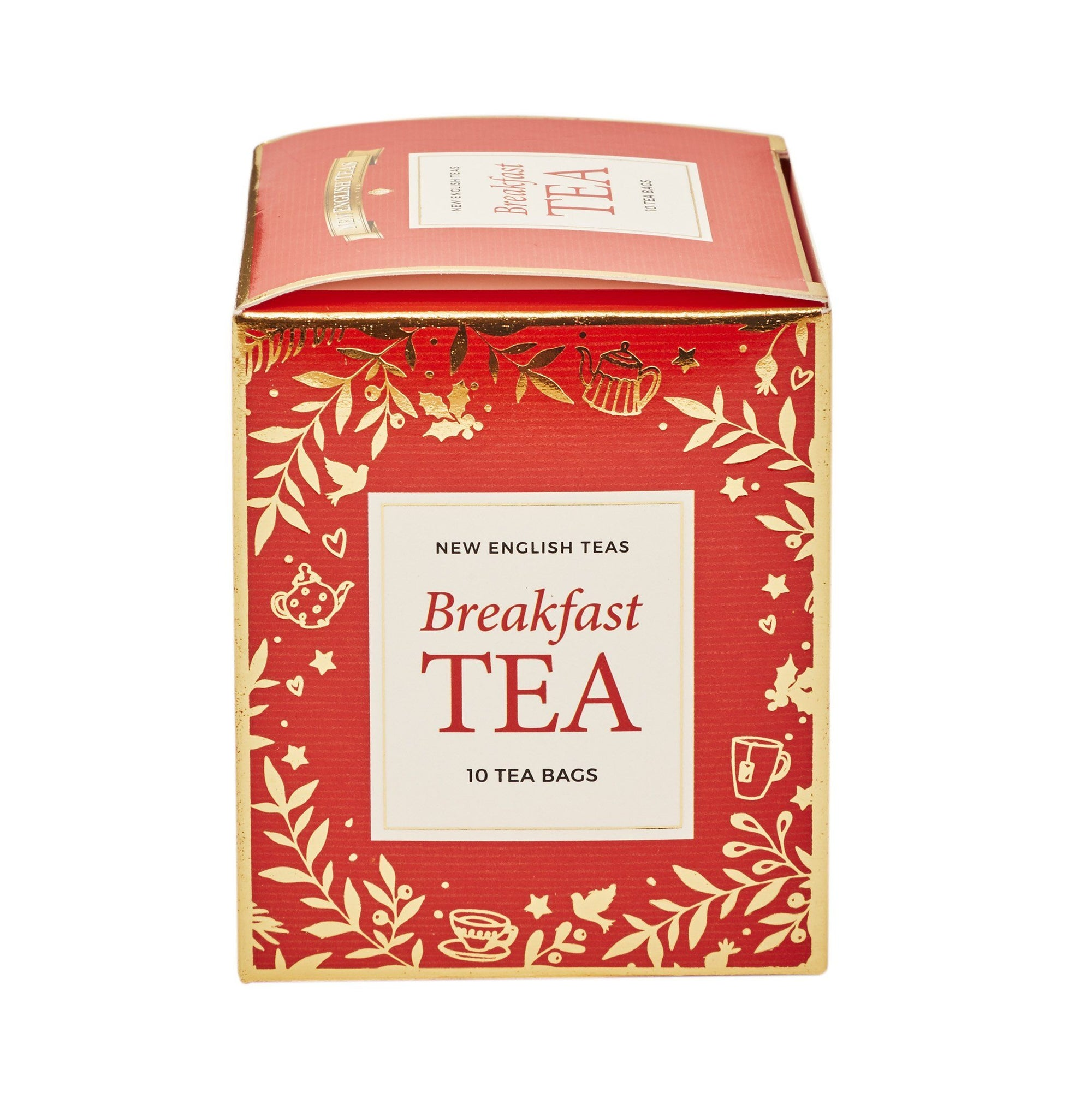 Red Christmas Teabag Box with 10 Breakfast Tea Teabags Black Tea New English Teas