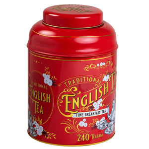 Red Vintage Victorian Tin with 240 English Breakfast teabags Black Tea New English Teas