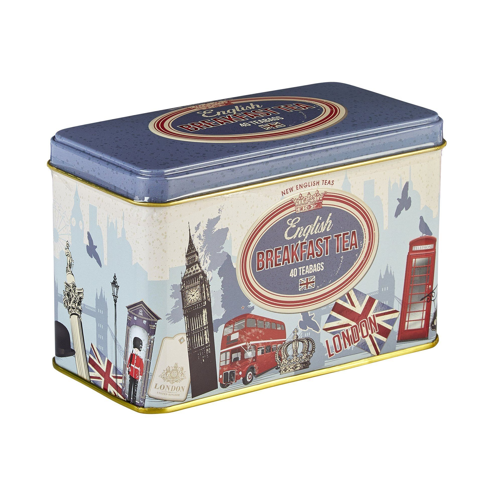 Retro London English Breakfast Tea Tin 40 Teabags Black Tea New English Teas