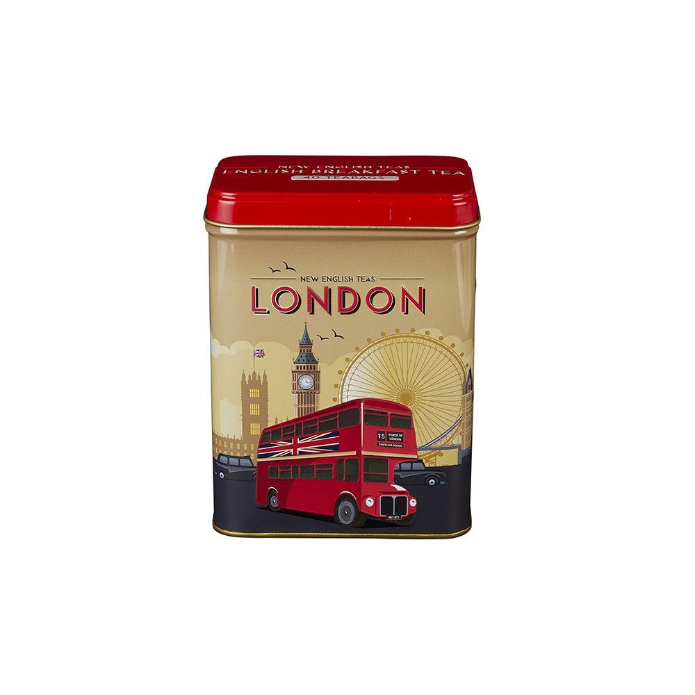 Retro London Travel English Breakfast Tea Tin 40 Teabags Black Tea New English Teas
