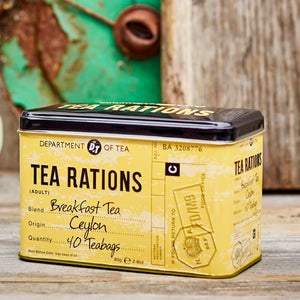 Tea Rations Tea Tin with 40 English Breakfast teabags Black Tea New English Teas