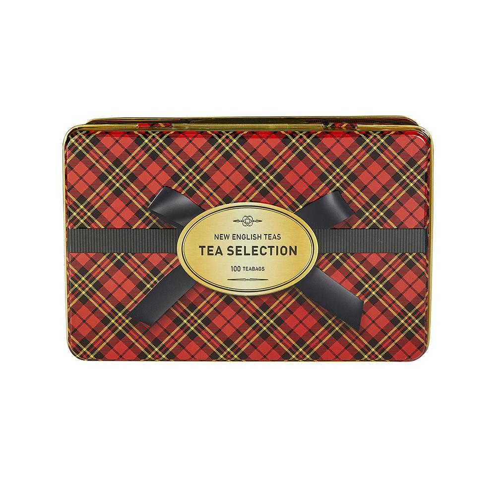 Traditional Tartan Tea Tin with 100 teabag selection Black Tea New English Teas
