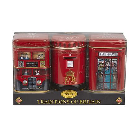Traditions Of Britain Triple Tea Selection Mini Tin Gift Pack Black Tea New English Teas