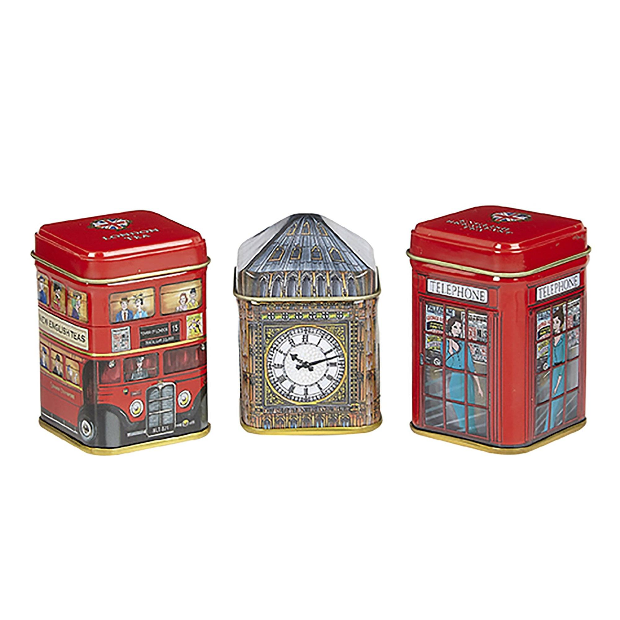Traditions of London Triple Tea Selection Mini Tin Gift Pack Black Tea New English Teas