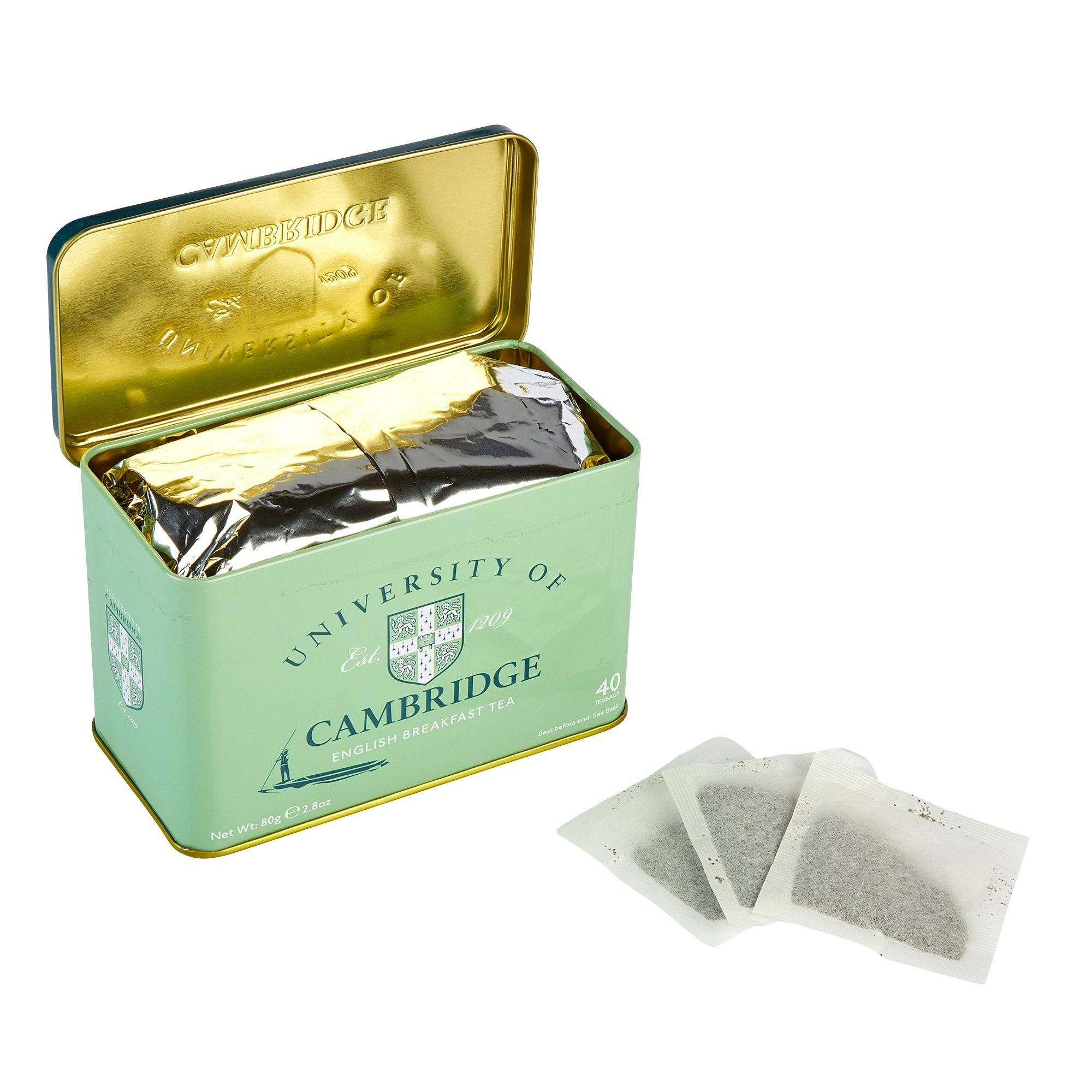 University Of Cambridge English Breakfast Tea Tin 40 Teabags Black Tea New English Teas