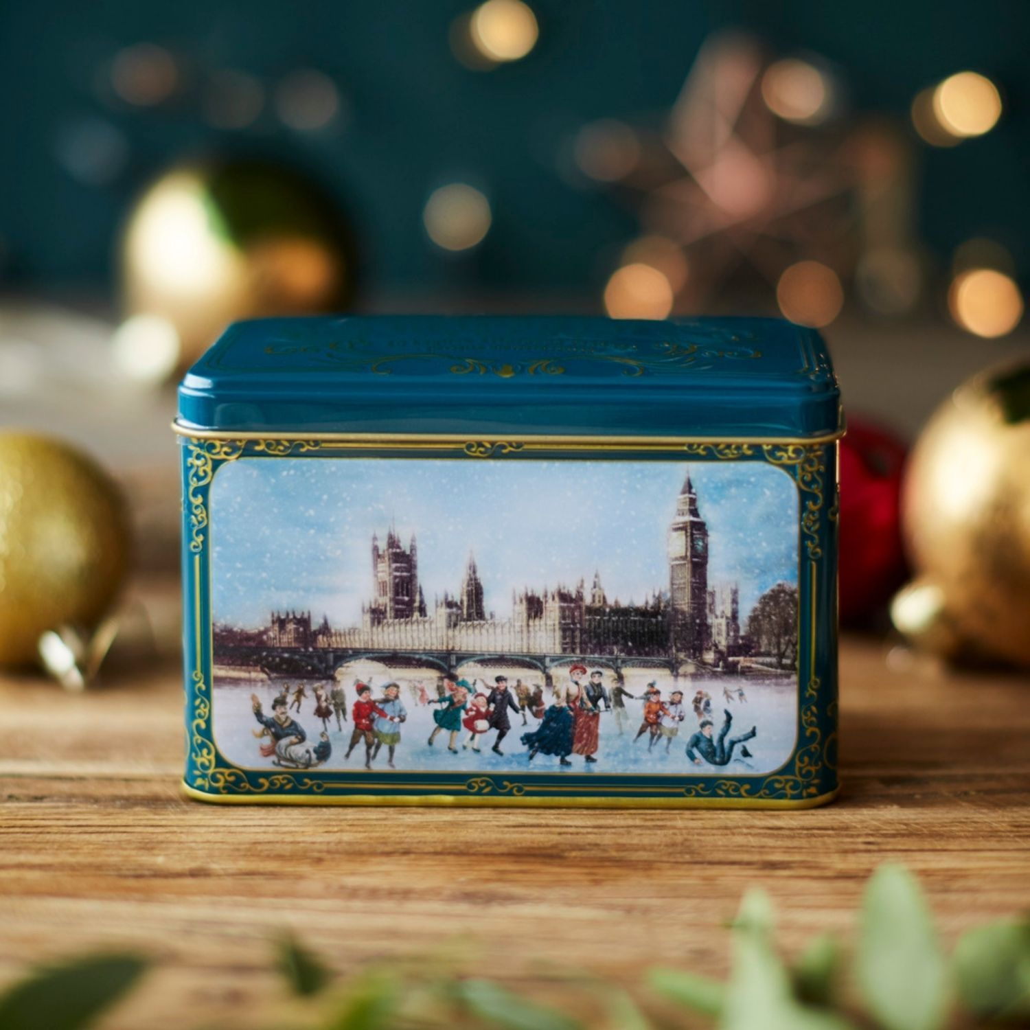 Victorian Christmas Skaters Tea Tin with 40 English Afternoon Teabags Black Tea New English Teas