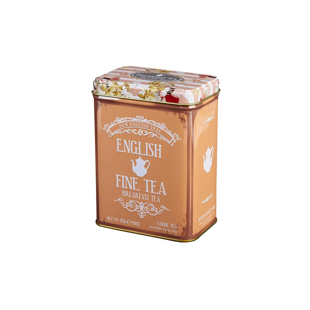 Floral Tea Tin with 125g Loose-leaf English Breakfast Tea Black Tea New English Teas