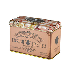 Vintage Floral Fine English Breakfast Tea Tin 40 Teabags Black Tea New English Teas