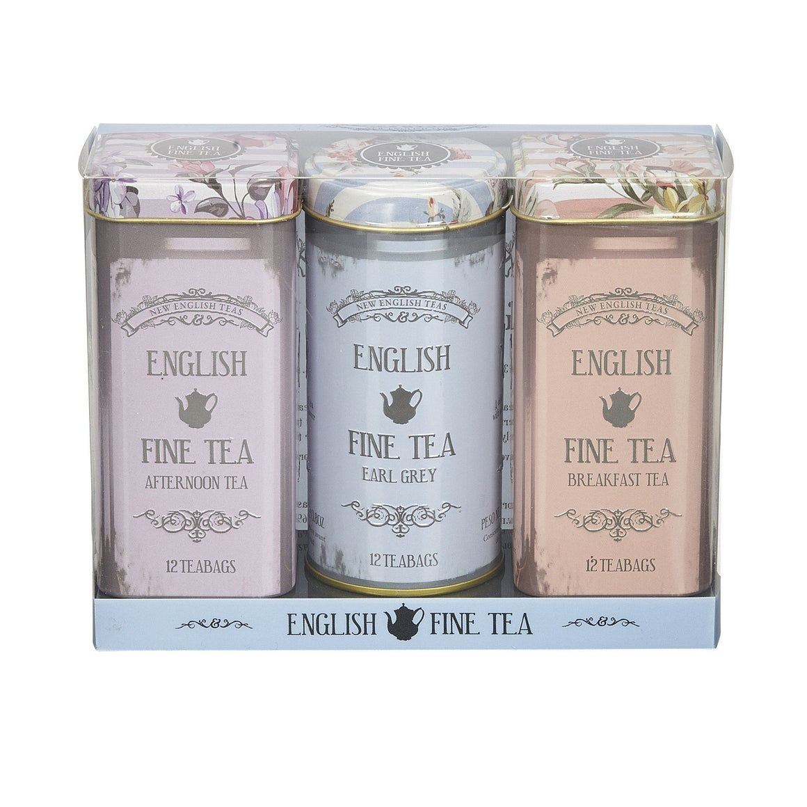 Vintage Floral Triple Tea Tin Gift Pack Black Tea New English Teas